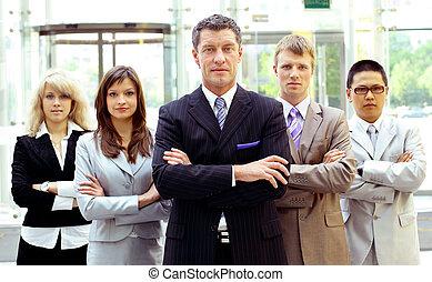 grupp, av, affär, folk., isolerat, över, vit fond
