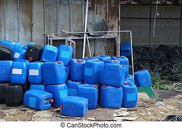 grupp, av, blå, kemisk, behållare