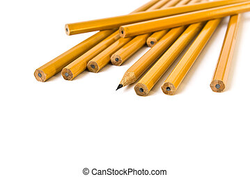 grupp, av, blyertspenna