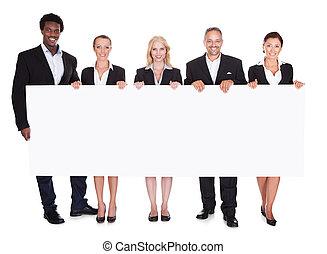 grupp, av, businesspeople, holdingen, affisch