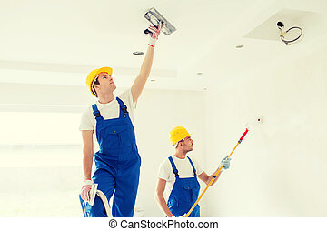 grupp, av, byggare, med, redskapen, inomhus