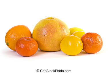 grupp, av, citronträd