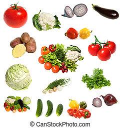 grupp, av, grönsaken, isolerat