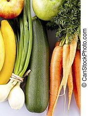 grupp, av, grönsaken, och, frukt