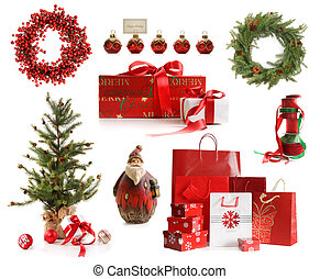 grupp, av, jul, objekt, isolerat, vita