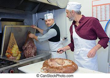 grupp, av, kockar, industriell, kök