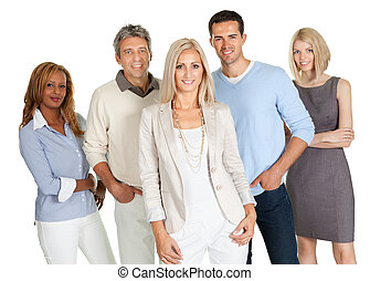 grupp, av, lycklig, affärsfolk, isolerat, vita