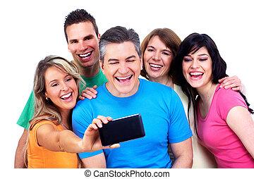 grupp, av, lycklig, folk, med, a, smartphone.