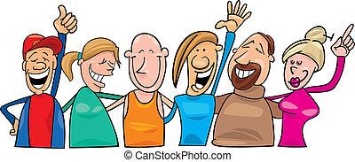 grupp, av, lycklig, folk