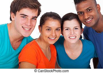 grupp, av, mångfald, ungdomar