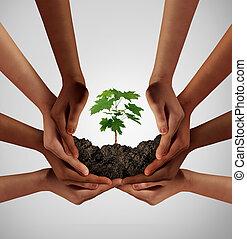 grupp, av, mångfaldig, folk, omsorg