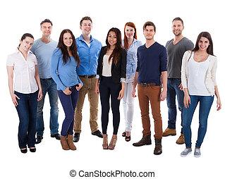 grupp, av, mångfaldig, folk