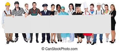 grupp, av, mångfaldig, professionelle