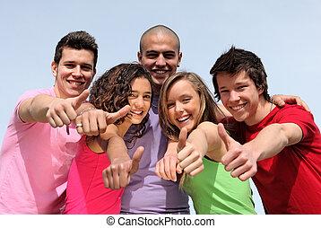 grupp, av, mångfaldig, tonåren