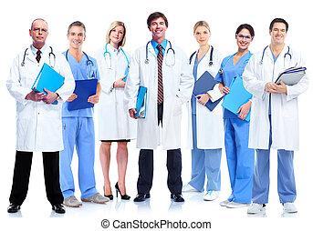 grupp, av, medicinsk, läkare.