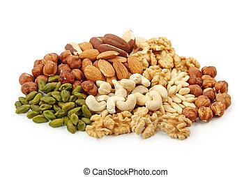 grupp, av, nötter