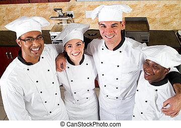 grupp, av, professionell, kockar