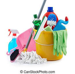 grupp, av, rensning, produkter