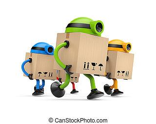 grupp, av, robotarna, brevbärare