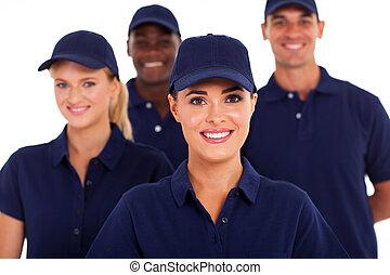 grupp, av, servicenäring, personal