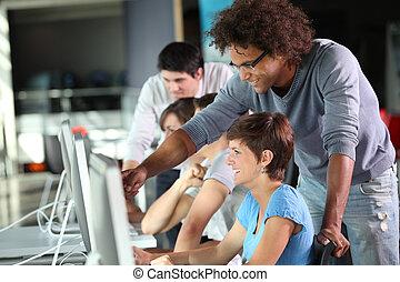 grupp, av, student, in, affärsverksamhet träna