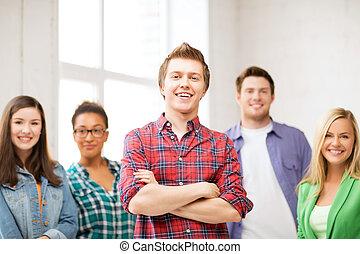 grupp, av, studeranden skola