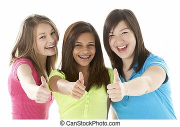 grupp, av, tonårig, flickvänner