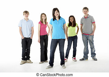 grupp, av, tonårig, vänner, in, studio
