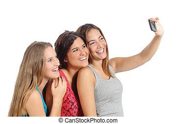 grupp, av, tonåring, flickor, ta ett fotografi, med, den, smart, ringa, kamera