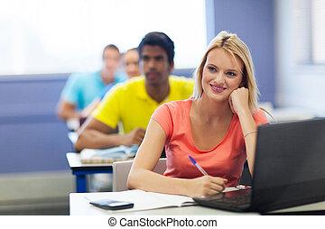 grupp, av, universitet, deltagare, ha, föreläsning