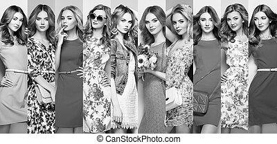 grupp, av, vacker, unga kvinnor