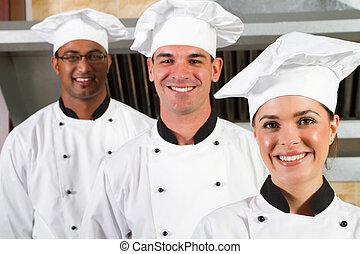 grupp, av, youngl, professionell, kockar