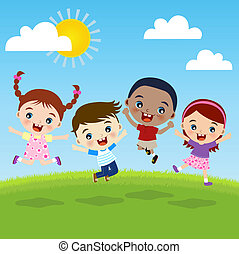 grupp, barn, lycka