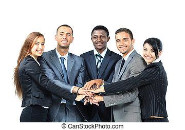 grupp, bilda, affär, arbetare, tillsammans, deras,...