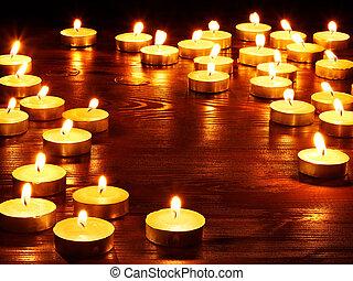 grupp, candles., brännande