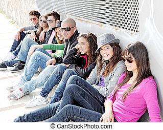 grupp, deltagare, eller, mångfaldig, tonåren, campus