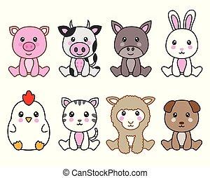 grupp, djuren, söt
