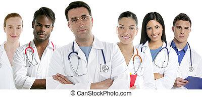 grupp, doktorn, bakgrund, lag, vit, rad