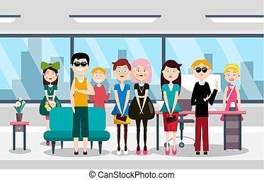 grupp, folk, kontor, illustration, vektor, lag, busines