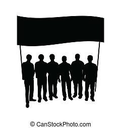 grupp, folk, med, flagga, silhuett