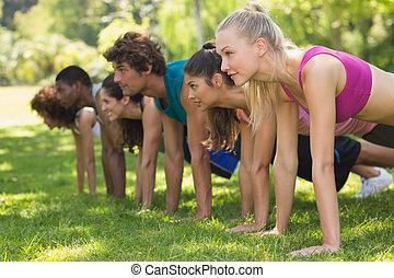grupp, folk, parkera, fitness, trycka, ups