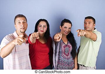 grupp, folk, pekande