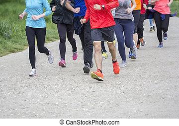 grupp, folk, spring, joggning,  fitness,  Sport, väg, utanför