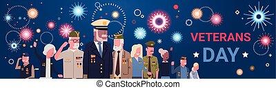 grupp, folk, veterer, medborgare, amerikan, militär, pensionerat, helgdag, baner, dag, firande