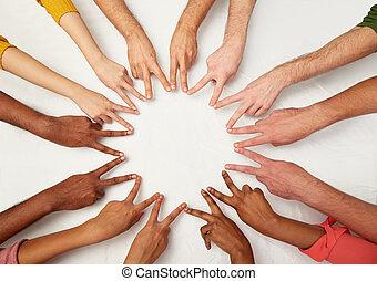 grupp, folk, visande, fred, underteckna, internationell