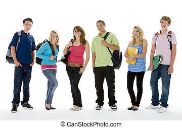 grupp fotograferade, av, tonårig, skola skämtar