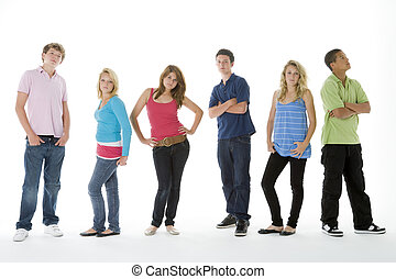 grupp fotograferade, teenagers