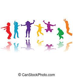 grupp, hand, silhouettes, hoppning, oavgjord, barn