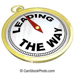 grupp, ledande, -, ledarskap, väg, kompass