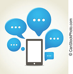 grupp, mobil, nymodig, ringa, anförande, skyn